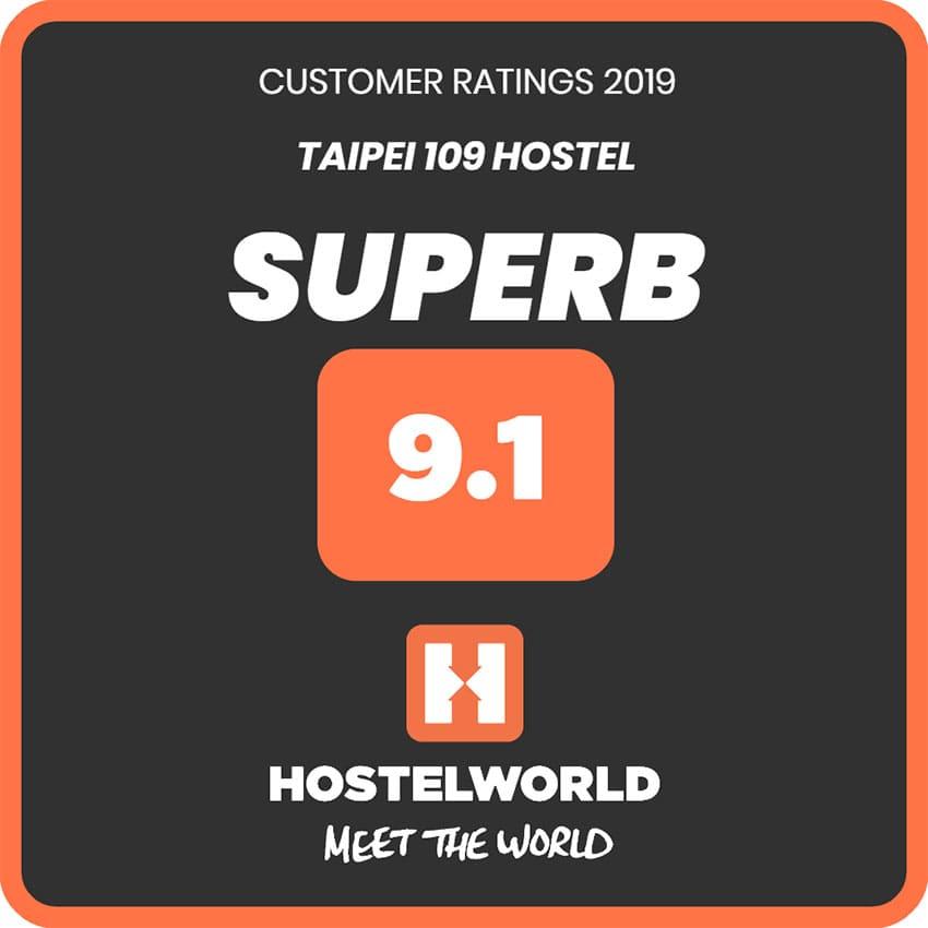 台北109青旅獲得Hostelworld評分9.1的照片
